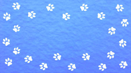 Animal paw prints in the snow. Stock Photo
