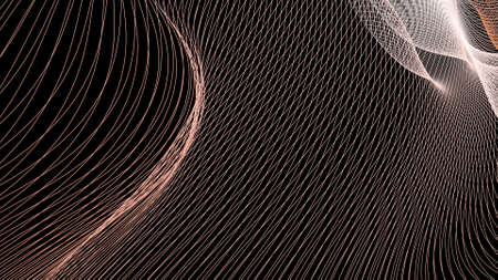 Hypnotic lines of rays into space. Background of abstract curving stripes on black.