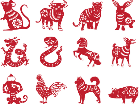 chinese zodiac signs paper cut style Иллюстрация