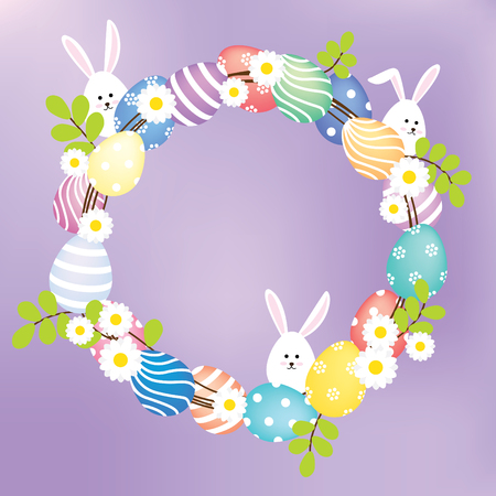 ivy vine: A wreath decorated with eggs, flowers, leaves and bunnies