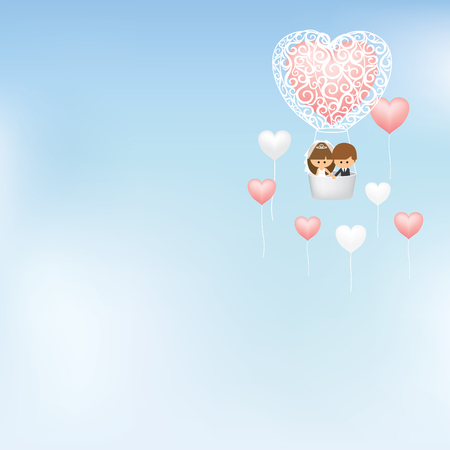 hot couple: Lovely couple flying in hot air balloon surrounded with heart shape balloons Illustration