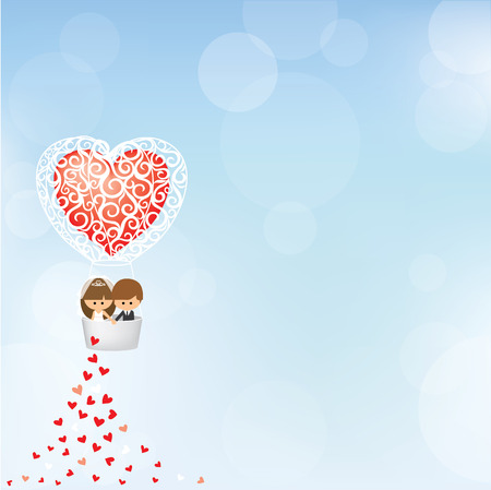 hot couple: bride and groom in heart shape hot air balloon Illustration