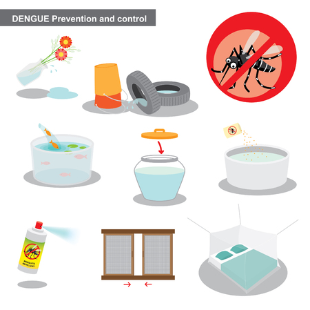 zika and dengue prevention and control  イラスト・ベクター素材