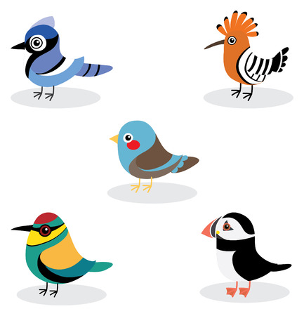 blue jay bird: collection of cute bird, cartoon style .