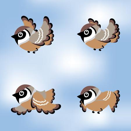volar de dibujos animados gorrión