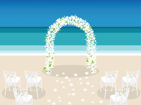 aisle: flower arch on the beach setting up for the wedding