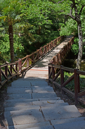 steps to go down to the wooden bridge Stock Photo
