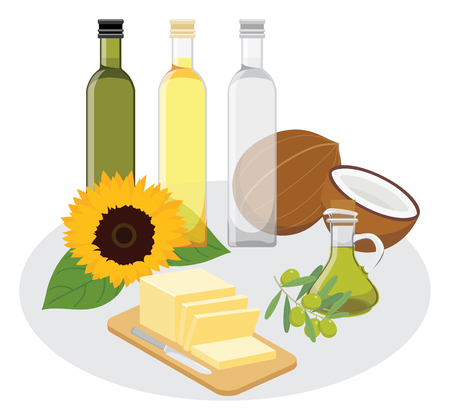 eat healthy, good fats.oil and butter Illustration