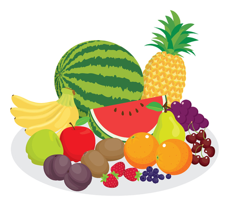 Healthy diet, variety of fruits in vector