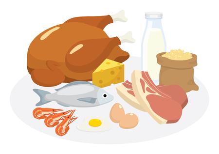 vector productos de la dieta de proteínas pf