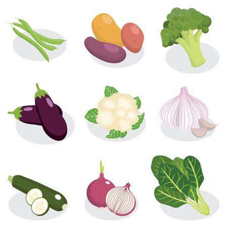 set of vegetable vector cartoon style
