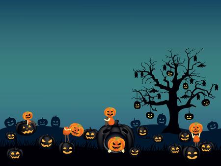 halloween background. Spooky pumpkin field with scary pumpkin kids and jack o lantern