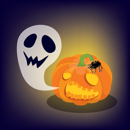 jack o lantern with a ghost and a spider