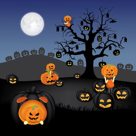 Spooky pumpkin field with dead tree, bat and jack o lantern hanging around