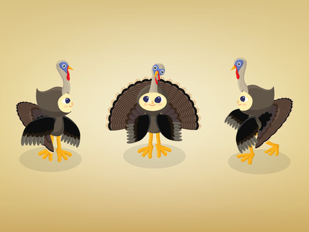 kids wearing turkey costumes in different poses Illustration