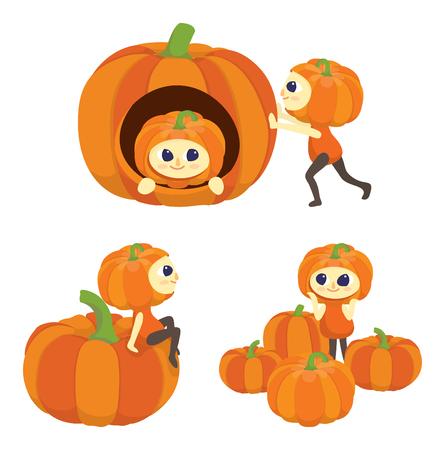 cute cartoon characters dress as pumpkins