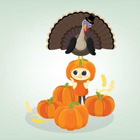 Happy thanksgiving background with turkey and a girl dress in pumpkin