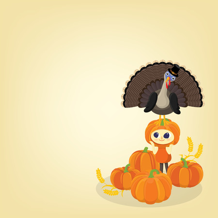 Happy thanksgiving background with turkey and a girl dress in pumpkin with copy space Illustration