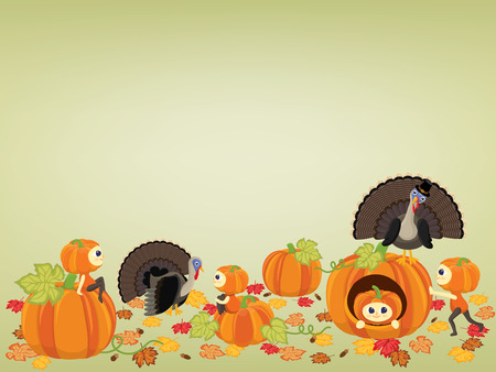 Happy Thanksgiving background with pumpkins girls, dry leaves,turkey and acorns Illustration