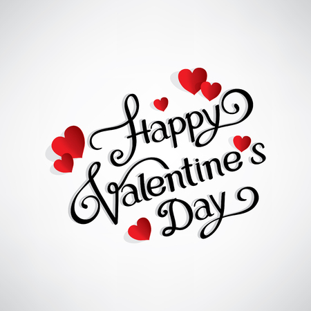 Happy Valentine s day hand writing with red hearts