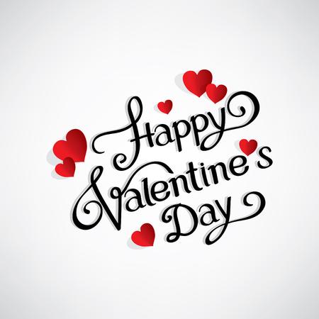 día escribiendo a mano Happy Valentine s con los corazones rojos
