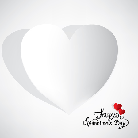 Happy valentines day with blank white paper heart