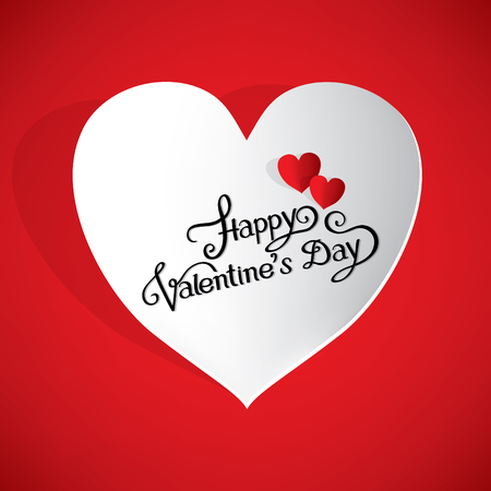 happy valentines day hand writing in white paper heart Illustration