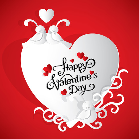 Happy Valentines day card with lovely birds and a heart. paper cut style.