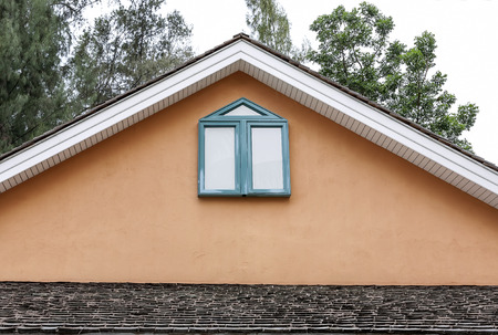dormitories: gable of the house Stock Photo