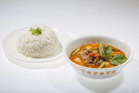 thai ethnicity: Thai Food Red Curry with rice Stock Photo