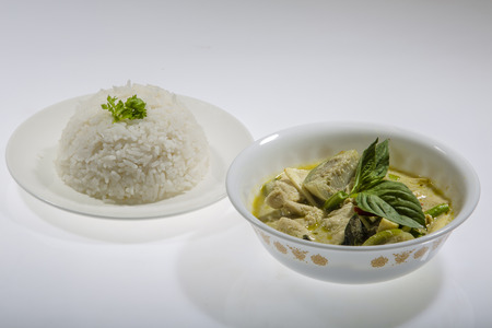 exotic food: Thai Food green Curry Chicken with rice