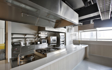 Work surface and kitchen equipment in professional kitchen