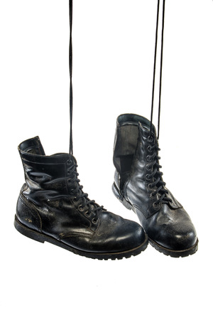 combat boots: Old combat boots was hang on