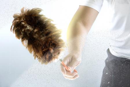 duster: A hand using a feather duster on the glass Stock Photo