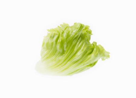 bisected: Fresh Green Iceberg lettuce isolated on white background Stock Photo