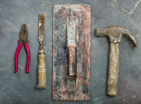 carpenter's bench: Old Tools on canvas background Stock Photo