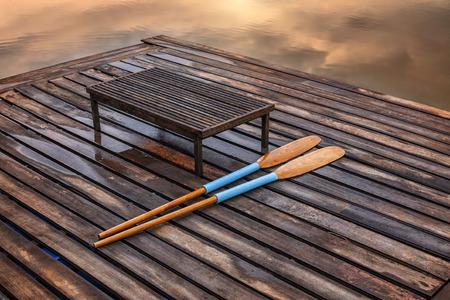 oar: Oar on the pier on lake Stock Photo
