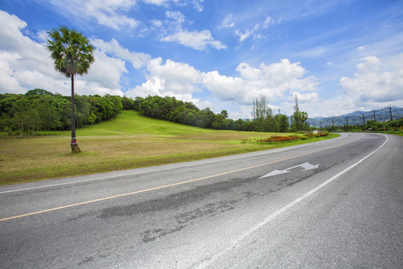 speedway park: Asphalt road in countryside Stock Photo
