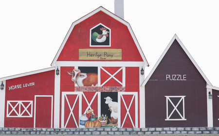 Barn with painted various farm animals