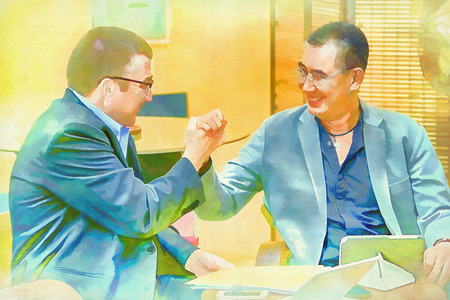 joining together: Digital painting businessman  trust each other, hands joining together, Stock Photo