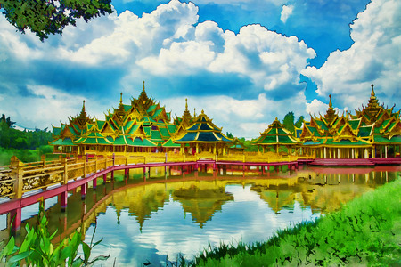 Digital painting traditional Temple in the Ancient City or Muang Boran at the city Samuth Prakan south of the city of Bangkok in Thailand