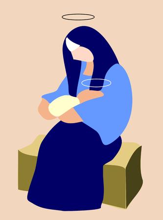 Virgin Mary holding baby Jesus. Illustration