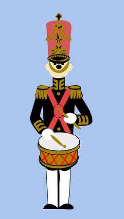 Vector Clipart of a doll Drummer marching band