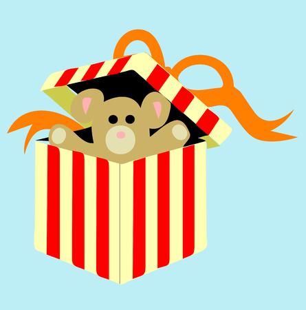 Teddy bear doll inside a gift box, vector illustration Illustration