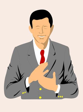 Ejecutivo de negocios aplaudiendo ilustración de felicitación. Ilustración de vector