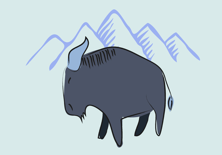 Yak cartoon drawing with mountain background
