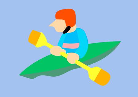 Cartoon Athlete in Kayak with Paddle Illusztráció