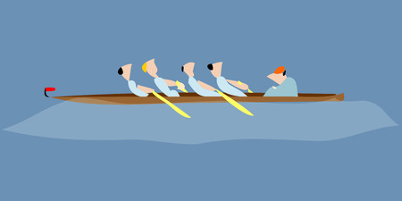 The athletes rowing scull boaters