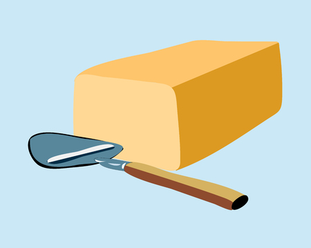 Cube butter with Spoon or butter cutter Vector illustration. Illustration