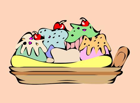 ice cream banana split Vector illustration.  イラスト・ベクター素材